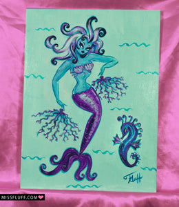 Purple Burlesque mermaid with Coral Fans - Original Painting 12x16