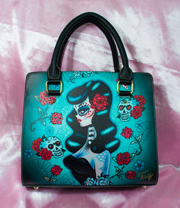 Raven Haired Day of the Dead Sugar Skull Pinup • LIMITED EDITION Handbag