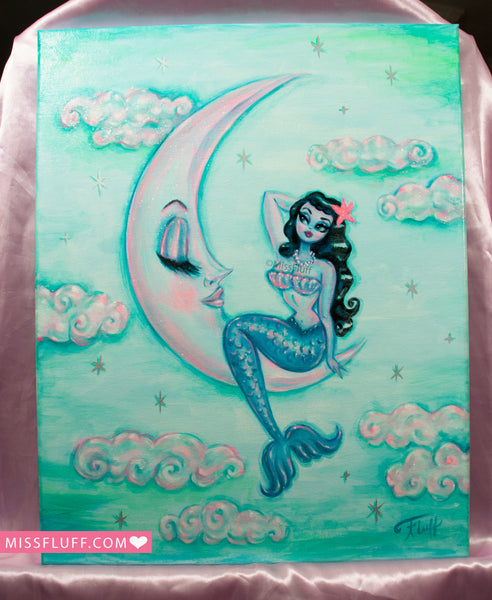 Raven Hair Mermaid on the Moon- Original Painting 16 x 20