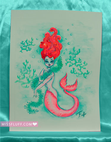 Redhead Mermaid with Seaweed Boa- Original Drawing 8x10