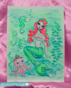 Glamorous Redhead Mermaid with Octopus Princess- Original Drawing 9x12