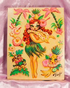 Hula Girl with Pineapple Crown - One of a kind -Hand Painted Canvas 11 x 14