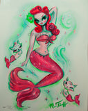 Pinup Mermaid with Merkittens- Redhead and Pink- Hand Painted 11x14