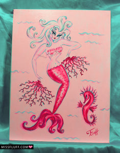 Scarlet Burlesque mermaid with Coral Fans - Original Painting 12x16