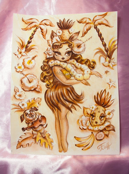 Hula Girl with Enchanted Pineapple and Ukelele Puppy- Original Drawing 9x12
