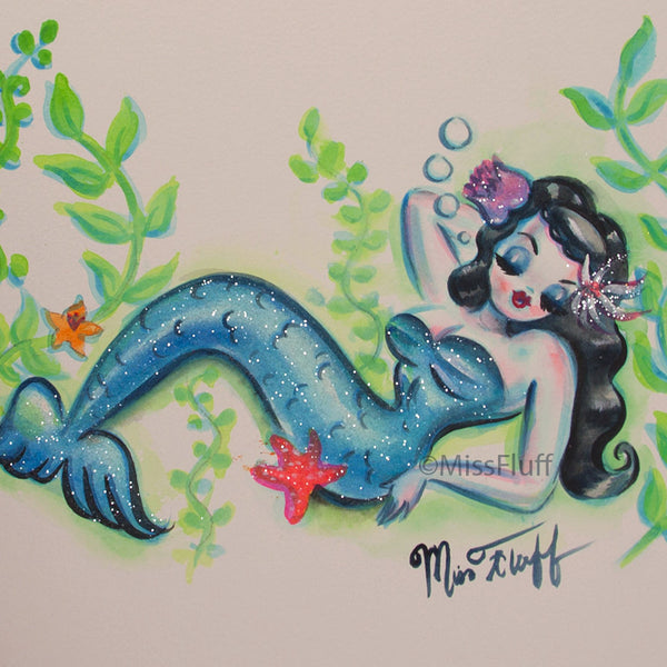 Sleepy Mermaid- Original Drawing 8x10