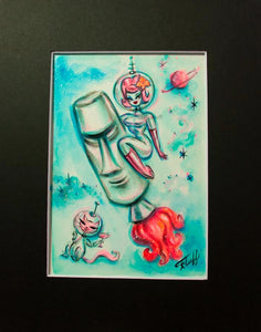 Space Girl on Tiki Rocket - Original 5x7