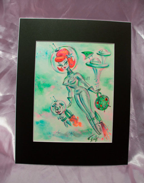 Space Girl with Rocket Powered Pooch - Original 8x10