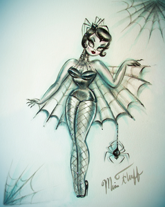 Black Widow Spider Burlesque Doll • Art Print
