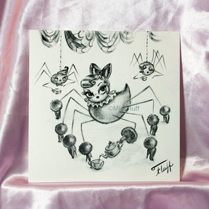 Spider Dolly - Tea for Three - Original Drawing 8x8