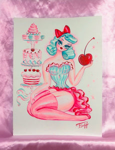 Cherry Sugar Doll with Cotton Candy Blue Hair - Original Drawing 9 x12