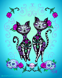 Sugar Skull Cats • Art Print