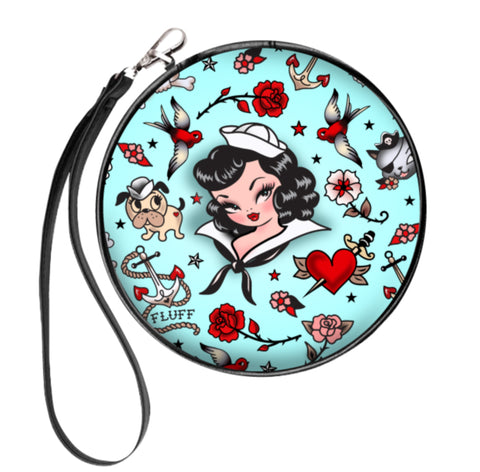 Suzy Sailor Light Blue • Round Cosmetic Bag