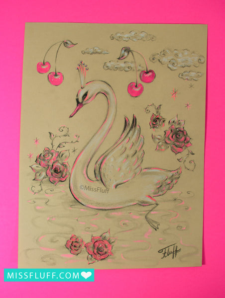Swan Prince with Pink Cherries- Original Sketch 9x12
