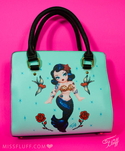 Tattoo Rockabilly Mermaid Dolly on Blue • SPECIAL EDITION Handbag