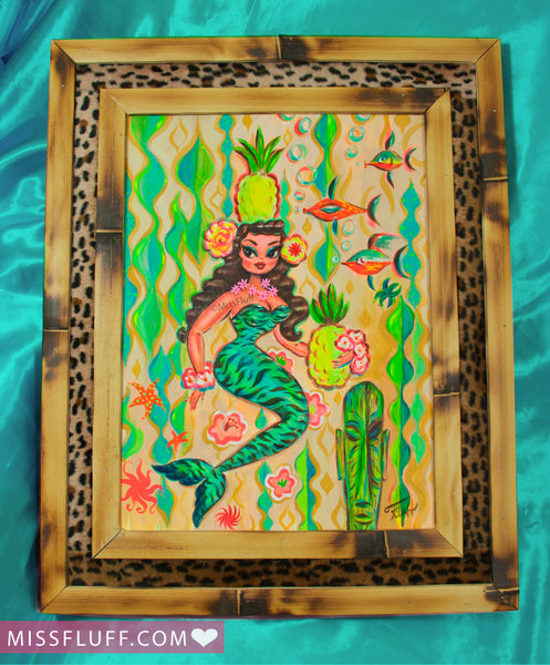 Teal Tiger Pineapple Mermaid - Original Painting