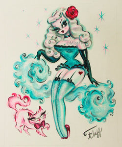 Turquoise Burlesque Doll with Kitty- Original 8x10
