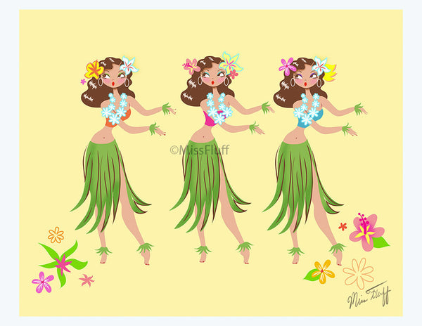 Three Hula Girls Art Print