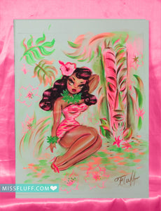 Island Maiden with Pink Tiki - Original Drawing 8x10