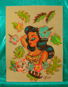 Tiki Temptress Bust with Skull - Original Drawing 9x12