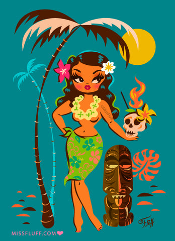 Tiki Temptress • With Skull Mug Cocktail • Art Print