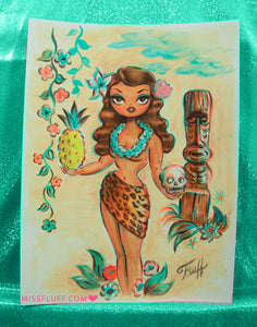 Tiki Temptress with Pineapple and Skull - Original Drawing 9x12