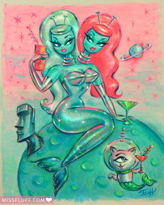 Two headed Alien Mermaid with Cyclops Kitty • Art Print