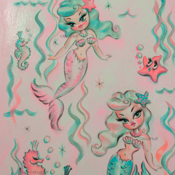 Babydoll Mermaids in a Magical Sea (blue and pearl hair) - Original Painting 11x14