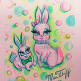 Two Bunnies with Candy Bubbles- Original Drawing 5x7