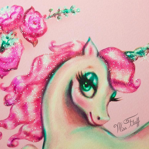 Unicorn with Roses on Pink • Limited Edition Canvas
