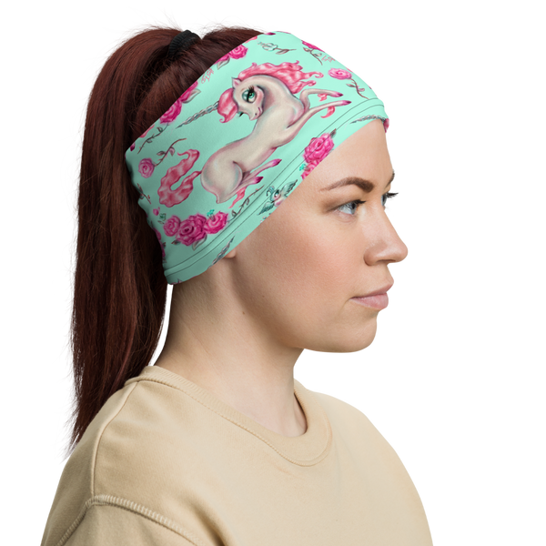 Unicorns and Roses on Mint • Neck Gaiter Face Mask