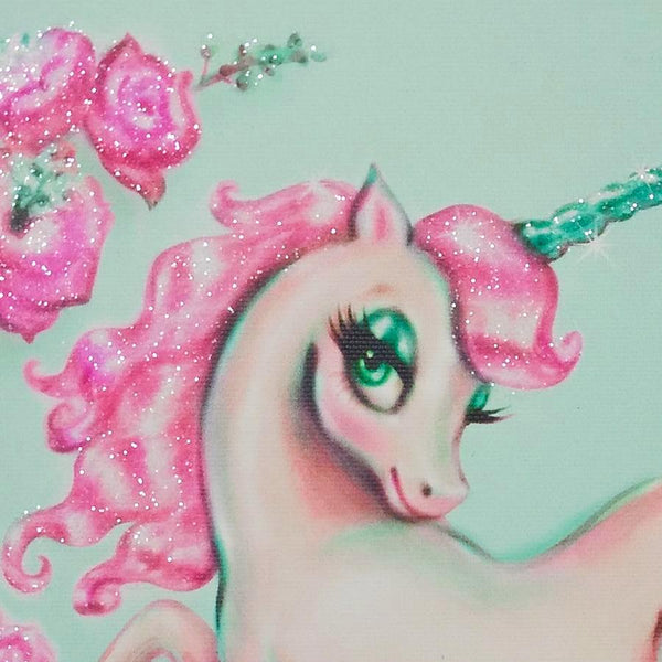 Unicorn with Roses on Mint • Limited Edition Canvas