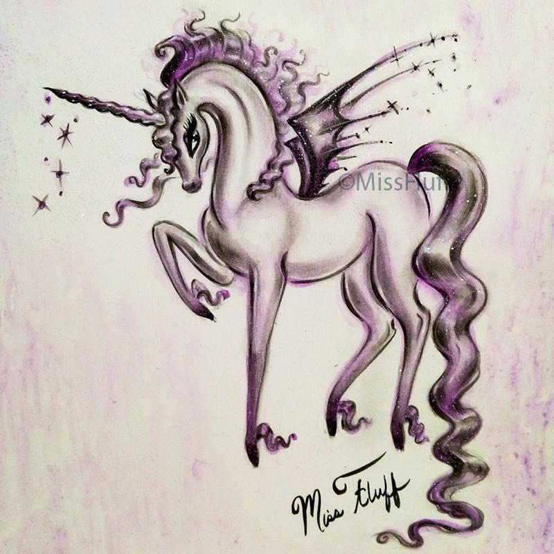 Unicorn with Bat Wings- Original Drawing 9x12