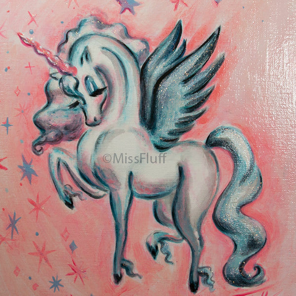 Unicorn Pegasus in Turquoise and Peach - Original Painting