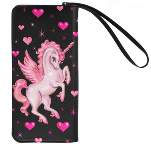 Unicorn Pegasus on Black • Clutch Wallet