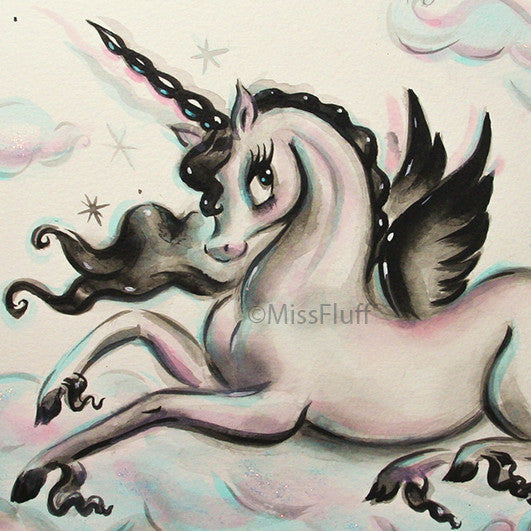 A magical unicorn Pegasus lounging on a cotton candy cloud.