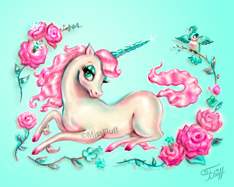 Unicorn with Roses on Mint • Art Print