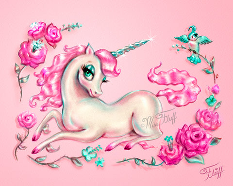 Unicorn with Roses on Pink • Art Print