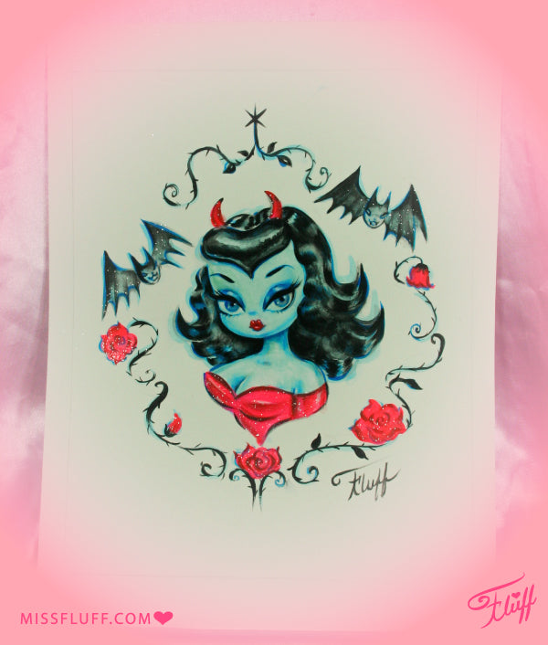Vampire Devil Dolly with Bats- Original Drawing 8x10