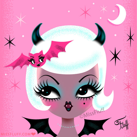 Vampire Dolly with Cute Bat • Art Print