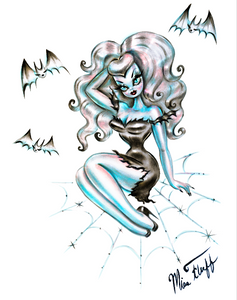 Vampire Doll on Spider Web on White • Art Print