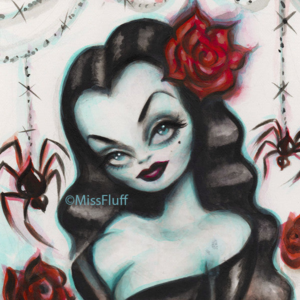 Vampire Vixen with Roses - Original Drawing