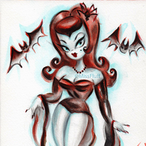 Vampire Vixen with Bats - Original Drawing