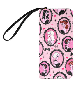 Cameo Dolls on Pink • Clutch Wallet