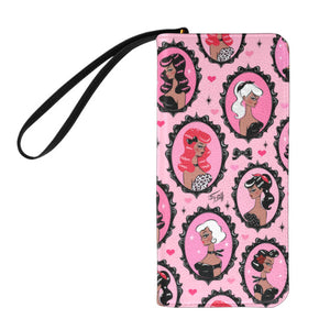 Cameo Dolls on Pink Mocha • Clutch Wallet