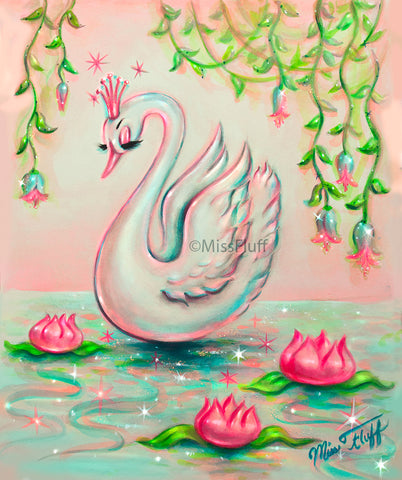 White Swan with Tiara • Art Print