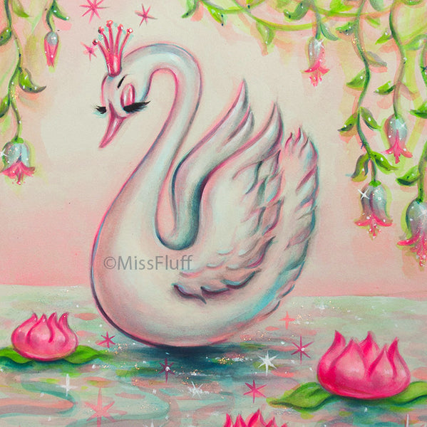 White Swan with Pink Tiara - Original Painting