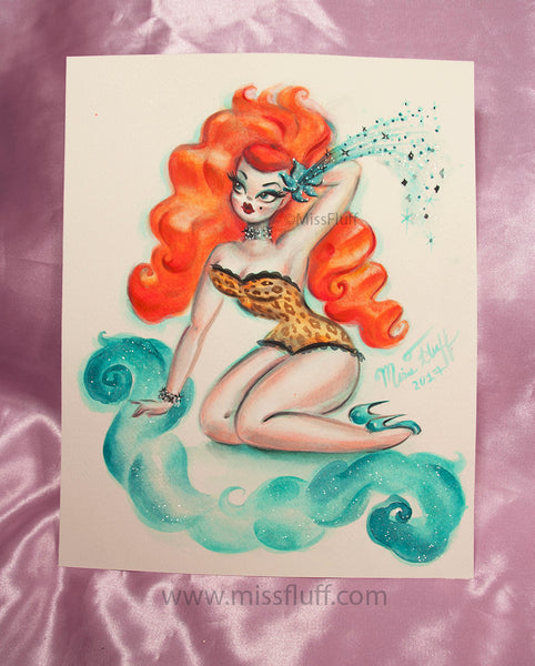 Wild Red Hair Burlesque Girl- Original Drawing