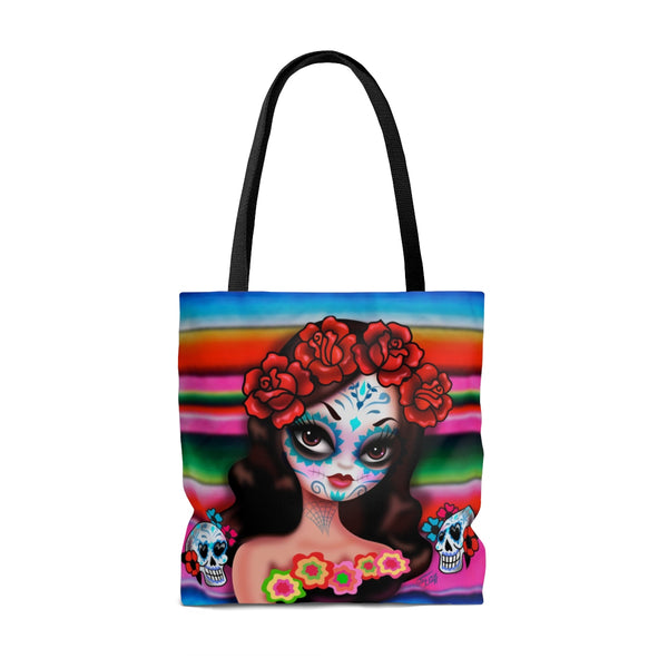 Day of the Dead Girl with Roses • Tote Bag