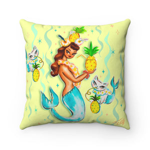 Tropical Pineapple Mermaid with Merkittens • Square Pillow